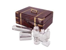 Y An Indian colonial rosewood toilet case with silver mounted fittings by Arthur Pittar
