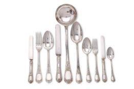 A French silver table service for twelve place settings by Emile Puiforcat