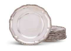 A set of twelve Austro-Hungarian silver hexafoil plates