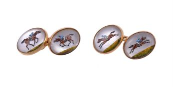 Y A pair of reverse painted intaglio horse racing cufflinks by William & Son