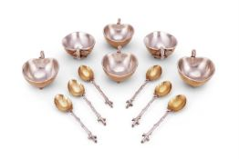 A rare set of six French electro-plated parcel gilt lemon sorbet cups and spoons by Christofle