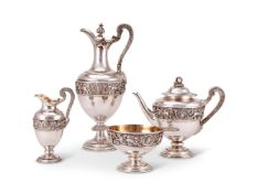 Y A Victorian silver ovoid pedestal tea and coffee service by Stephen Smith