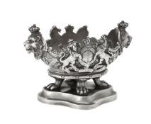 A late Victorian cast silver shaped oval bowl by The Goldsmiths & Silversmiths Co. Ltd.