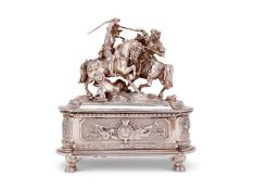A Victorian cast silver figural table casket by William Nichols