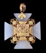 A Regency agate cross pendant