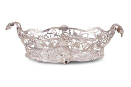 A late Victorian silver shaped oval basket by Charles Boyton