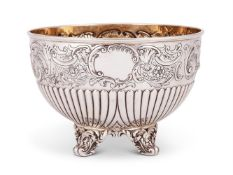 A late Victorian silver small hemispherical rose bowl by the Barnard Bros