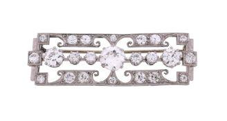 A 1950s diamond panel brooch