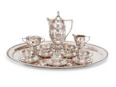 Y An Austro-Hungarian silver part coffee service on tray