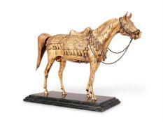 A silver parcel gilt model of an Arab stallion by William & Son (William Rolls Asprey)
