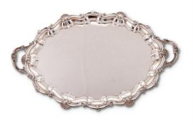 A large silver shaped oval twin handled tray by Elkington & Co.