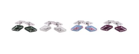 Four pairs of silver 'William' cufflinks by William & Son