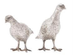A pair of silver models of partridges by William & Son (William Rolls Asprey)