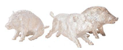 Three silver models of wild boar by William & Son (William Rolls Asprey)