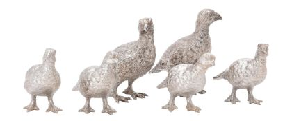 Three small pairs of silver models of grouse by William & Son (William Rolls Asprey)
