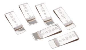 Six silver plain money clips by William & Son (William Rolls Asprey)