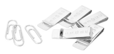 Eight silver money clips by William & Son (William Rolls Asprey)
