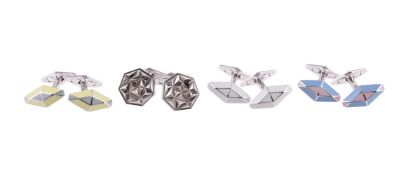 Four pairs of silver cufflinks by William & Son