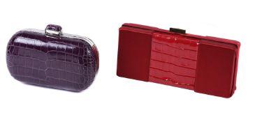 Y William & Son, a purple alligator clutch bag