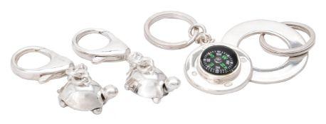 Four silver keyrings by William & Son (William Rolls Asprey)