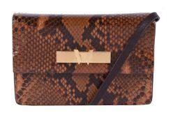 William & Son, a brown mini snakeskin clutch