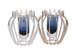 A pair of small silver and Murano glass Classical Profile vases by William & Son (William Rolls Aspr