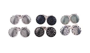 Six pairs of silver cufflinks by William & Son