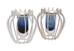 A matched pair of small silver and Murano glass Classical Profile vases by William & Son (William Ro