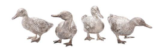 Four silver models of standing mallard ducks by William & Son (William Rolls Asprey)