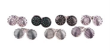 Seven pairs of silver cufflinks by William & Son
