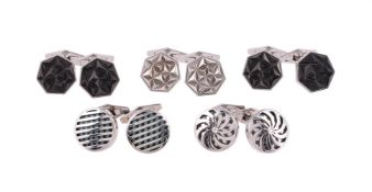 Five pairs of silver cufflinks by William & Son