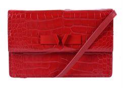 Y William & Son, Mini Bruton, a red alligator clutch