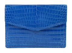 Y William & Son, a Sky Blue porosus crocodile box evening bag