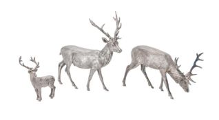 Two silver models of stags by William & Son (William Rolls Asprey)