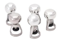 Five silver mounted champagne stoppers by William & Son (William Rolls Asprey)