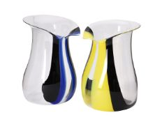 A pair of clear and coloured glass Tie champagne coolers or ice buckets by Riedel