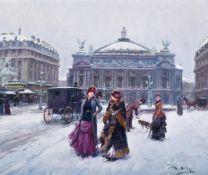 λ JUAN PUIG SOLER (SPANISH 1906-1984), FIGURES IN THE SNOW OUTSIDE THE PARIS OPERA HOUSE