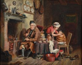FOLLOWER OF FREDERIC DANIEL HARDY, DOMESTIC LIFE BESIDE THE FIRE; THE FEATHERED VISITOR