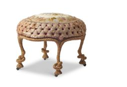 A FRENCH CARVED GILTWOOD STOOL, LATE 19TH CENTURY