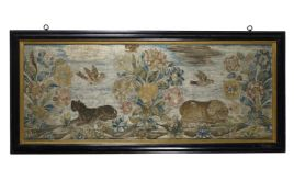 A SILKWORK PICTURE, LATE 17TH CENTURY