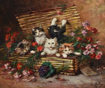 LEON CHARLES HUBER (FRENCH 1858-1928), KITTENS IN A BASKET