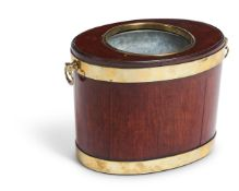 A GEORGE III MAHOGANY AND BRASS-BOUND BOTTLE COOLER