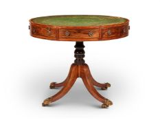 Y A GEORGE III ROSEWOOD AND SATINWOOD BANDED DRUM-TOP LIBRARY TABLE