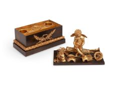 A BRONZE AND ORMOLU INKSTAND, FRENCH, 19TH CENTURY