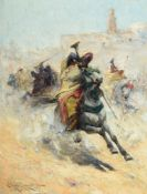 EDMUND AUBREY HUNT (AMERICAN 1855-1922), CHANGING HORSEMEN