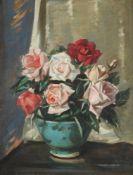 λ WILLIAM HUNTER (SCOTTISH 1890-1967), ROSES IN A BLUE BOWL