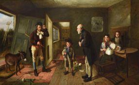 CHARLES HUNT (BRITISH 1829-1900) INTERIOR SCENE WITH A DONKEY