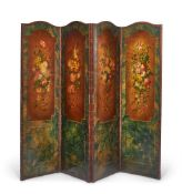 A PAINTED LEATHER FOUR FOLD SCREEN, LATE 19TH CENTURY