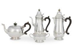 AN IRISH SILVER FOUR PIECE TEA AND COFFEE SERVICE