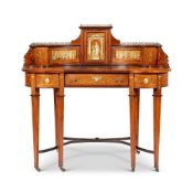 Y A LATE VICTORIAN ROSEWOOD AND IVORY MARQUETRY KIDNEY-SHAPED DESK